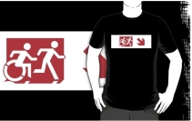 Accessible Means of Egress Icon Exit Sign Wheelchair Wheelie Running Man Symbol by Lee Wilson PWD Disability Emergency Evacuation Adult T-shirt 417
