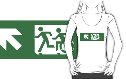 Accessible Means of Egress Icon Exit Sign Wheelchair Wheelie Running Man Symbol by Lee Wilson PWD Disability Emergency Evacuation Adult T-shirt 418