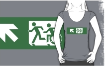 Accessible Means of Egress Icon Exit Sign Wheelchair Wheelie Running Man Symbol by Lee Wilson PWD Disability Emergency Evacuation Adult T-shirt 419