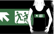 Accessible Means of Egress Icon Exit Sign Wheelchair Wheelie Running Man Symbol by Lee Wilson PWD Disability Emergency Evacuation Adult T-shirt 420