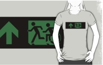 Accessible Means of Egress Icon Exit Sign Wheelchair Wheelie Running Man Symbol by Lee Wilson PWD Disability Emergency Evacuation Adult T-shirt 42