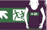 Accessible Means of Egress Icon Exit Sign Wheelchair Wheelie Running Man Symbol by Lee Wilson PWD Disability Emergency Evacuation Adult T-shirt 421