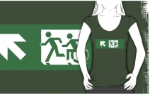Accessible Means of Egress Icon Exit Sign Wheelchair Wheelie Running Man Symbol by Lee Wilson PWD Disability Emergency Evacuation Adult T-shirt 422