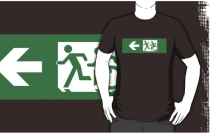 Accessible Means of Egress Icon Exit Sign Wheelchair Wheelie Running Man Symbol by Lee Wilson PWD Disability Emergency Evacuation Adult T-shirt 423