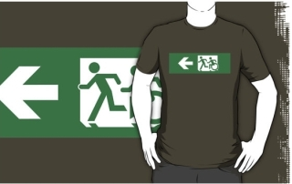 Accessible Means of Egress Icon Exit Sign Wheelchair Wheelie Running Man Symbol by Lee Wilson PWD Disability Emergency Evacuation Adult T-shirt 424