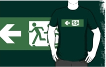 Accessible Means of Egress Icon Exit Sign Wheelchair Wheelie Running Man Symbol by Lee Wilson PWD Disability Emergency Evacuation Adult T-shirt 425