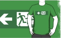 Accessible Means of Egress Icon Exit Sign Wheelchair Wheelie Running Man Symbol by Lee Wilson PWD Disability Emergency Evacuation Adult T-shirt 426
