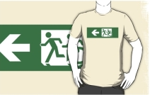 Accessible Means of Egress Icon Exit Sign Wheelchair Wheelie Running Man Symbol by Lee Wilson PWD Disability Emergency Evacuation Adult T-shirt 427