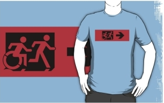 Accessible Means of Egress Icon Exit Sign Wheelchair Wheelie Running Man Symbol by Lee Wilson PWD Disability Emergency Evacuation Adult T-shirt 428