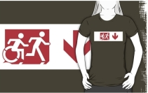 Accessible Means of Egress Icon Exit Sign Wheelchair Wheelie Running Man Symbol by Lee Wilson PWD Disability Emergency Evacuation Adult T-shirt 429