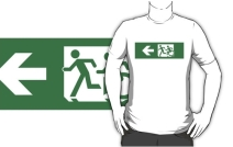 Accessible Means of Egress Icon Exit Sign Wheelchair Wheelie Running Man Symbol by Lee Wilson PWD Disability Emergency Evacuation Adult T-shirt 430