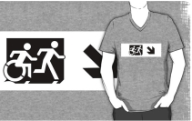 Accessible Means of Egress Icon Exit Sign Wheelchair Wheelie Running Man Symbol by Lee Wilson PWD Disability Emergency Evacuation Adult T-shirt 43