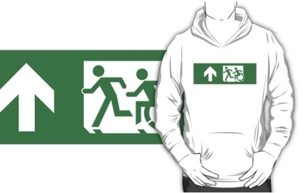 Accessible Means of Egress Icon Exit Sign Wheelchair Wheelie Running Man Symbol by Lee Wilson PWD Disability Emergency Evacuation Adult T-shirt 431