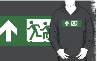 Accessible Means of Egress Icon Exit Sign Wheelchair Wheelie Running Man Symbol by Lee Wilson PWD Disability Emergency Evacuation Adult T-shirt 432