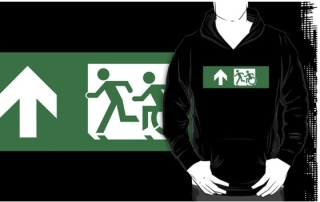 Accessible Means of Egress Icon Exit Sign Wheelchair Wheelie Running Man Symbol by Lee Wilson PWD Disability Emergency Evacuation Adult T-shirt 433
