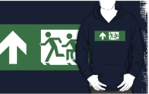 Accessible Means of Egress Icon Exit Sign Wheelchair Wheelie Running Man Symbol by Lee Wilson PWD Disability Emergency Evacuation Adult T-shirt 434