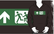 Accessible Means of Egress Icon Exit Sign Wheelchair Wheelie Running Man Symbol by Lee Wilson PWD Disability Emergency Evacuation Adult T-shirt 435