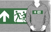 Accessible Means of Egress Icon Exit Sign Wheelchair Wheelie Running Man Symbol by Lee Wilson PWD Disability Emergency Evacuation Adult T-shirt 436