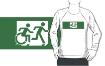 Accessible Means of Egress Icon Exit Sign Wheelchair Wheelie Running Man Symbol by Lee Wilson PWD Disability Emergency Evacuation Adult T-shirt 437