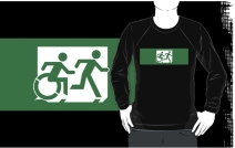Accessible Means of Egress Icon Exit Sign Wheelchair Wheelie Running Man Symbol by Lee Wilson PWD Disability Emergency Evacuation Adult T-shirt 438