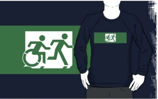 Accessible Means of Egress Icon Exit Sign Wheelchair Wheelie Running Man Symbol by Lee Wilson PWD Disability Emergency Evacuation Adult T-shirt 439