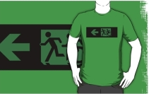 Accessible Means of Egress Icon Exit Sign Wheelchair Wheelie Running Man Symbol by Lee Wilson PWD Disability Emergency Evacuation Adult T-shirt 44