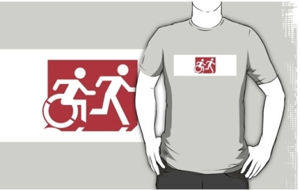 Accessible Means of Egress Icon Exit Sign Wheelchair Wheelie Running Man Symbol by Lee Wilson PWD Disability Emergency Evacuation Adult T-shirt 441