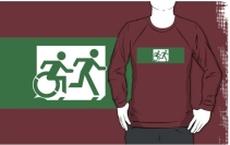 Accessible Means of Egress Icon Exit Sign Wheelchair Wheelie Running Man Symbol by Lee Wilson PWD Disability Emergency Evacuation Adult T-shirt 442