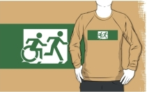 Accessible Means of Egress Icon Exit Sign Wheelchair Wheelie Running Man Symbol by Lee Wilson PWD Disability Emergency Evacuation Adult T-shirt 443