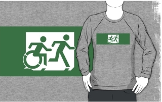 Accessible Means of Egress Icon Exit Sign Wheelchair Wheelie Running Man Symbol by Lee Wilson PWD Disability Emergency Evacuation Adult T-shirt 444