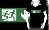 Accessible Means of Egress Icon Exit Sign Wheelchair Wheelie Running Man Symbol by Lee Wilson PWD Disability Emergency Evacuation Adult T-shirt 445