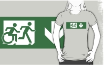 Accessible Means of Egress Icon Exit Sign Wheelchair Wheelie Running Man Symbol by Lee Wilson PWD Disability Emergency Evacuation Adult T-shirt 446