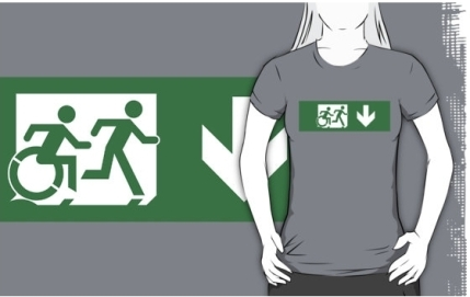 Accessible Means of Egress Icon Exit Sign Wheelchair Wheelie Running Man Symbol by Lee Wilson PWD Disability Emergency Evacuation Adult T-shirt 447