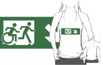 Accessible Means of Egress Icon Exit Sign Wheelchair Wheelie Running Man Symbol by Lee Wilson PWD Disability Emergency Evacuation Adult T-shirt 448