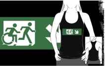 Accessible Means of Egress Icon Exit Sign Wheelchair Wheelie Running Man Symbol by Lee Wilson PWD Disability Emergency Evacuation Adult T-shirt 449