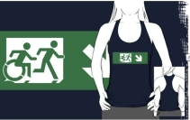Accessible Means of Egress Icon Exit Sign Wheelchair Wheelie Running Man Symbol by Lee Wilson PWD Disability Emergency Evacuation Adult T-shirt 450