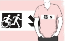Accessible Means of Egress Icon Exit Sign Wheelchair Wheelie Running Man Symbol by Lee Wilson PWD Disability Emergency Evacuation Adult T-shirt 45