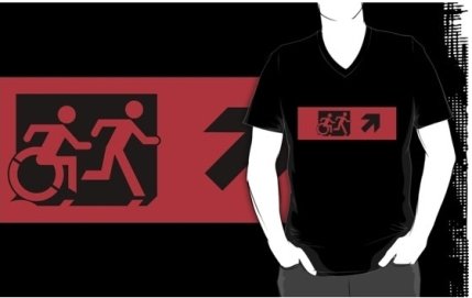 Accessible Means of Egress Icon Exit Sign Wheelchair Wheelie Running Man Symbol by Lee Wilson PWD Disability Emergency Evacuation Adult T-shirt 452