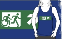 Accessible Means of Egress Icon Exit Sign Wheelchair Wheelie Running Man Symbol by Lee Wilson PWD Disability Emergency Evacuation Adult T-shirt 455