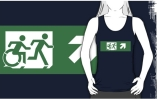 Accessible Means of Egress Icon Exit Sign Wheelchair Wheelie Running Man Symbol by Lee Wilson PWD Disability Emergency Evacuation Adult T-shirt 456