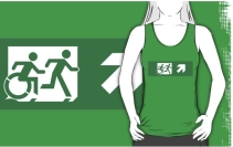 Accessible Means of Egress Icon Exit Sign Wheelchair Wheelie Running Man Symbol by Lee Wilson PWD Disability Emergency Evacuation Adult T-shirt 457