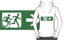 Accessible Means of Egress Icon Exit Sign Wheelchair Wheelie Running Man Symbol by Lee Wilson PWD Disability Emergency Evacuation Adult T-shirt 458