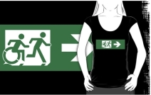 Accessible Means of Egress Icon Exit Sign Wheelchair Wheelie Running Man Symbol by Lee Wilson PWD Disability Emergency Evacuation Adult T-shirt 460