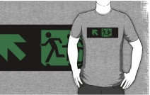 Accessible Means of Egress Icon Exit Sign Wheelchair Wheelie Running Man Symbol by Lee Wilson PWD Disability Emergency Evacuation Adult T-shirt 46