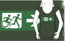 Accessible Means of Egress Icon Exit Sign Wheelchair Wheelie Running Man Symbol by Lee Wilson PWD Disability Emergency Evacuation Adult T-shirt 461