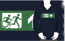Accessible Means of Egress Icon Exit Sign Wheelchair Wheelie Running Man Symbol by Lee Wilson PWD Disability Emergency Evacuation Adult T-shirt 462
