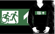 Accessible Means of Egress Icon Exit Sign Wheelchair Wheelie Running Man Symbol by Lee Wilson PWD Disability Emergency Evacuation Adult T-shirt 463