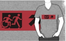 Accessible Means of Egress Icon Exit Sign Wheelchair Wheelie Running Man Symbol by Lee Wilson PWD Disability Emergency Evacuation Adult T-shirt 464