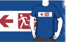 Accessible Means of Egress Icon Exit Sign Wheelchair Wheelie Running Man Symbol by Lee Wilson PWD Disability Emergency Evacuation Adult T-shirt 465