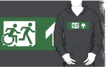 Accessible Means of Egress Icon Exit Sign Wheelchair Wheelie Running Man Symbol by Lee Wilson PWD Disability Emergency Evacuation Adult T-shirt 466
